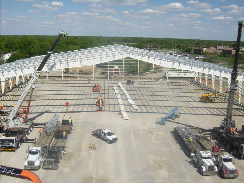 Pittsburgh State University Sports Facility Construction Framing Overhead